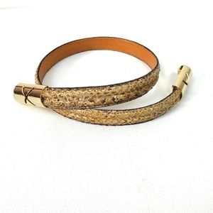 Genuine Snake Skin Belt Gold Tone Buckle Sz XS